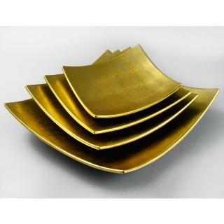 【MU LIFE 荒木雕塑藝品】黃金漆器盤(25cm)