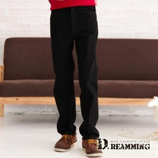 【Dreamming】經典原色厚磅伸縮中直筒牛仔褲(黑色)