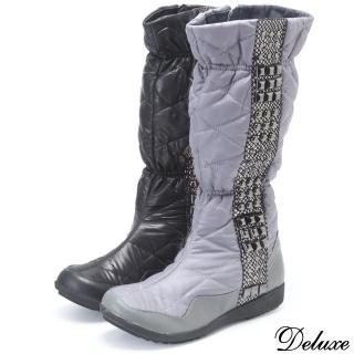 【Deluxe】Deluxe-真皮防水羽絨輕柔金屬扣中筒太空靴(黑★灰)