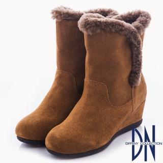 【DN】溫暖時尚 真皮拼接滾邊設計楔型靴(駝)