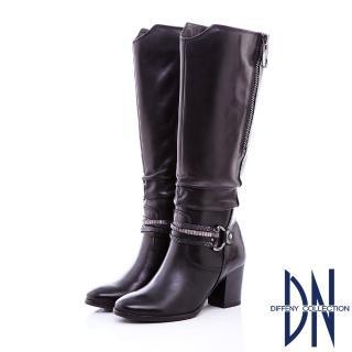 【DN】率性時尚 MIT質感抓皺紋牛皮長靴(黑)