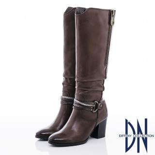 【DN】率性時尚 MIT質感抓皺紋牛皮長靴(咖)