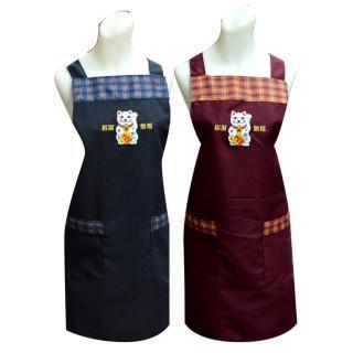 金錢招財貓格子圍裙TT508(藍紅二入任組)