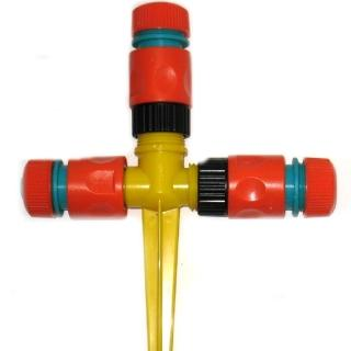 【灑水達人】六分水管三通轉接頭與20公分腳架四入