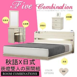 【HOME MALL-雪松簡約崁燈】雙人5尺五件式房間組(雪松色)