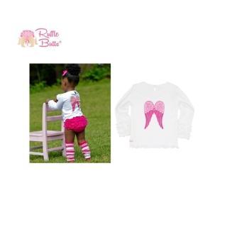 【美國 RuffleButts】寶寶長袖內搭衣/ 外穿棉T-小天使純白上衣(RBLLT06)