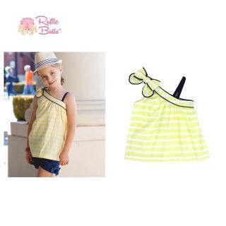 【美國 RuffleButts】小女童無袖上衣/小洋裝_黃白線條斜肩上衣(RBLLT09)