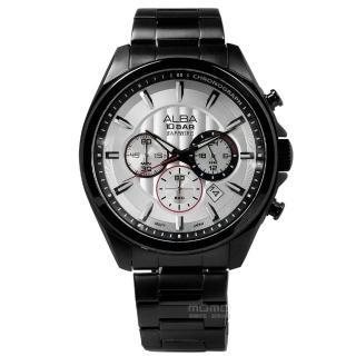 【ALBA】菁英質感系三環計時不鏽鋼腕錶 銀x鍍黑 45mm(VD53-X219SD.AT3829X1)