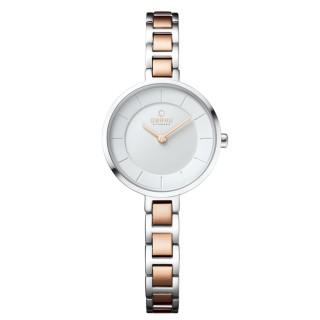 【OBAKU】氣質雅致雙色時尚腕錶-白X玫瑰金(V183LXCISC)