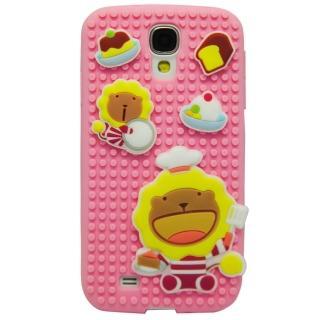 【Aztec】奶油獅 Samsung Galaxy S4 矽膠軟手機殼(粉紅拼圖)