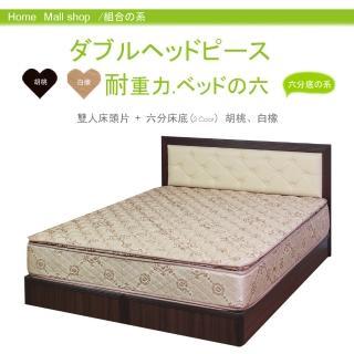 【HOME MALL-卡哇伊靠墊】雙人5尺床頭片+耐用六分床底(2色)