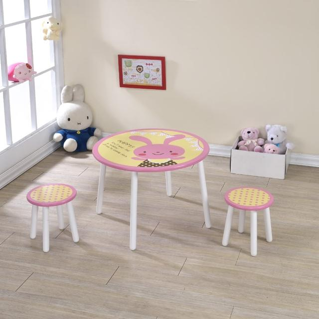 【ONE 生活】兔兔桌椅組(粉紅+白)