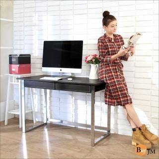 【BuyJM】馬鞍皮電鍍粗腳雙抽大書桌/電腦桌