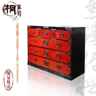 【桐簞笥】雋臻傳世-頂級六階整理簞笥 赤塗 幅120cm