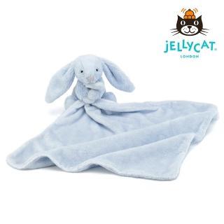 【英國 JELLYCAT】兔子造型安撫巾(粉藍色 約33*33公分)