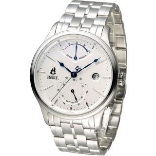 【依波路 E.BOREL】雙時區動力儲存機械錶(GS8880P3-25121 白)