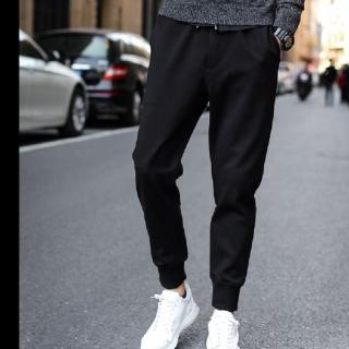 【NBL-NEWBOYLONDON】L03314黑色寬鬆韓版運動褲哈倫褲縮口褲(哈倫褲縮口褲束腳褲)