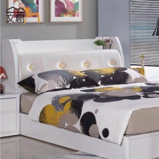 【文創集】蘭米斯  白色皮革5尺雙人床頭箱
