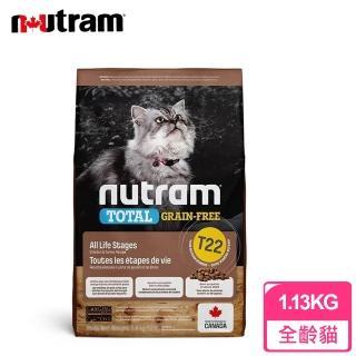 【紐頓Nutram】無穀全能系列 T22 全齡貓 火雞肉+雞肉+鴨肉(1.8公斤)