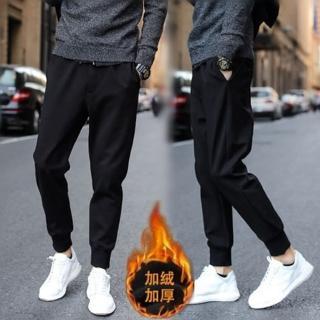 【NBL-NEWBOYLONDON】L83892黑色韓版運動褲加絨縮口褲(加絨縮口褲束腳褲)