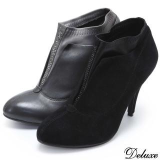 【Deluxe】全真皮秋冬質感俐落水鑽裸靴(黑★灰)
