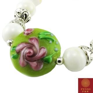 【菲鈮歐】開運金絲綠玫瑰硨磲琉璃項鍊(1487)