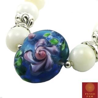 【菲鈮歐】開運金絲藍玫瑰硨磲琉璃項鍊(1489)
