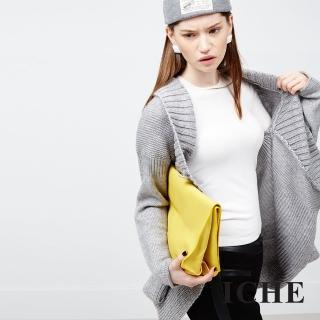 【ICHE 衣哲】不規則剪裁針織羊毛外套