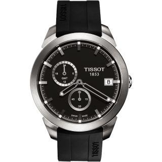 【TISSOT】Titanium GMT 時尚鈦金屬二地時區腕錶(T0694394706100)