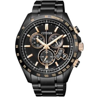 【CITIZEN】五局電波光動能萬年曆錶-黑x玫瑰金(BY0135-57E)