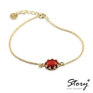 【STORY ACCESSORY】璽愛-天然寶石系列-花芯 純銀手鍊(天然寶石 花邊 蕾絲 手鍊)