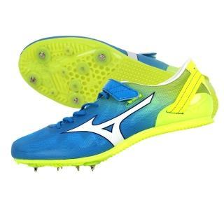 【MIZUNO】GEO STREAK 男女田徑釘鞋- 短距離 跨欄(水藍螢光黃)