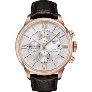 【TISSOT】天梭 杜魯爾系列計時機械腕錶-銀x玫瑰金/44mm(T0994273603800)