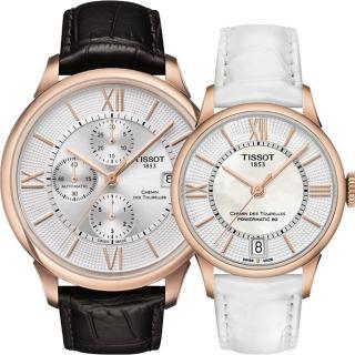 【TISSOT】杜魯爾系列情人機械對錶(T0994273603800+T0992073611800)