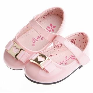 【布布童鞋】甜美娃娃粉紅色愛心扣環亮皮公主鞋(QFJ505G)