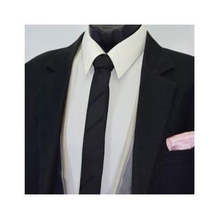 【拉福】斜紋窄版領帶手打領帶(黑色)