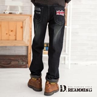 【Dreamming】旗幟造型口袋刷紋中直筒牛仔褲