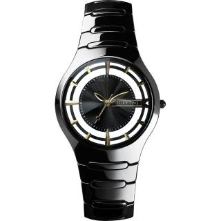 【RELAX TIME】RT57 優雅鏤空陶瓷腕錶-黑x金時標/37mm(RT-57-10)