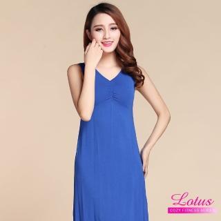 【LOTUS】長版附罩杯背心bra睡衣(深藍)