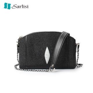 【Sarlisi】時尚珍珠魚皮鍊帶包(經典黑、彩繪)