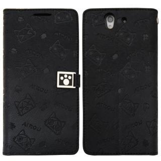 【Aztec】艾路貓 Samsung Core Plus 側掀式皮套(腳印黑)