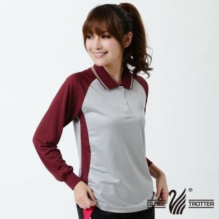 【遊遍天下】台灣製女款休閒吸濕排汗機能POLO長衫NL006灰紅(M-3L)