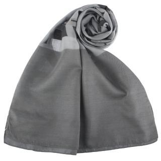 【ARMANI COLLEZIONI】斜線字母大LOGO絲質披肩圍巾(灰色)