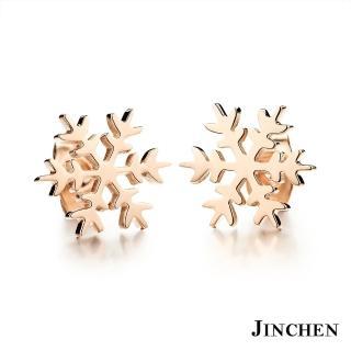 【JINCHEN】316L鈦鋼耳環一對價TEC-296光面(雪花耳環/正韓商品/鋼針抗過敏)