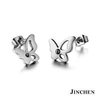 【JINCHEN】316L鈦鋼耳環一對價TEC-286銀色(蝴蝶耳環/正韓商品/鋼針抗過敏)