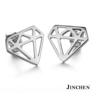 【JINCHEN】316L鈦鋼耳環一對價TEC-273銀色(鑽石耳環/正韓商品/鋼針抗過敏)