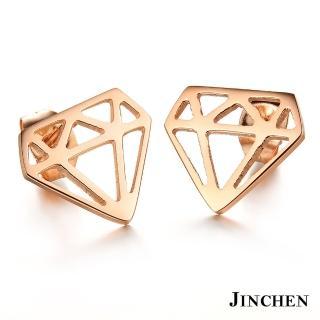 【JINCHEN】316L鈦鋼耳環一對價TEC-273玫金(鑽石耳環/正韓商品/鋼針抗過敏)