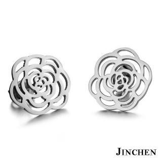 【JINCHEN】316L鈦鋼耳環一對價TEC-267銀色(薔薇耳環/正韓商品/鋼針抗過敏)