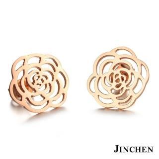 【JINCHEN】316L鈦鋼耳環一對價TEC-267玫金(薔薇耳環/正韓商品/鋼針抗過敏)