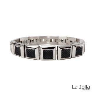 【La Jolla】雅痞風采 純鈦鍺手鍊(碳纖維-金屬鍺x3)